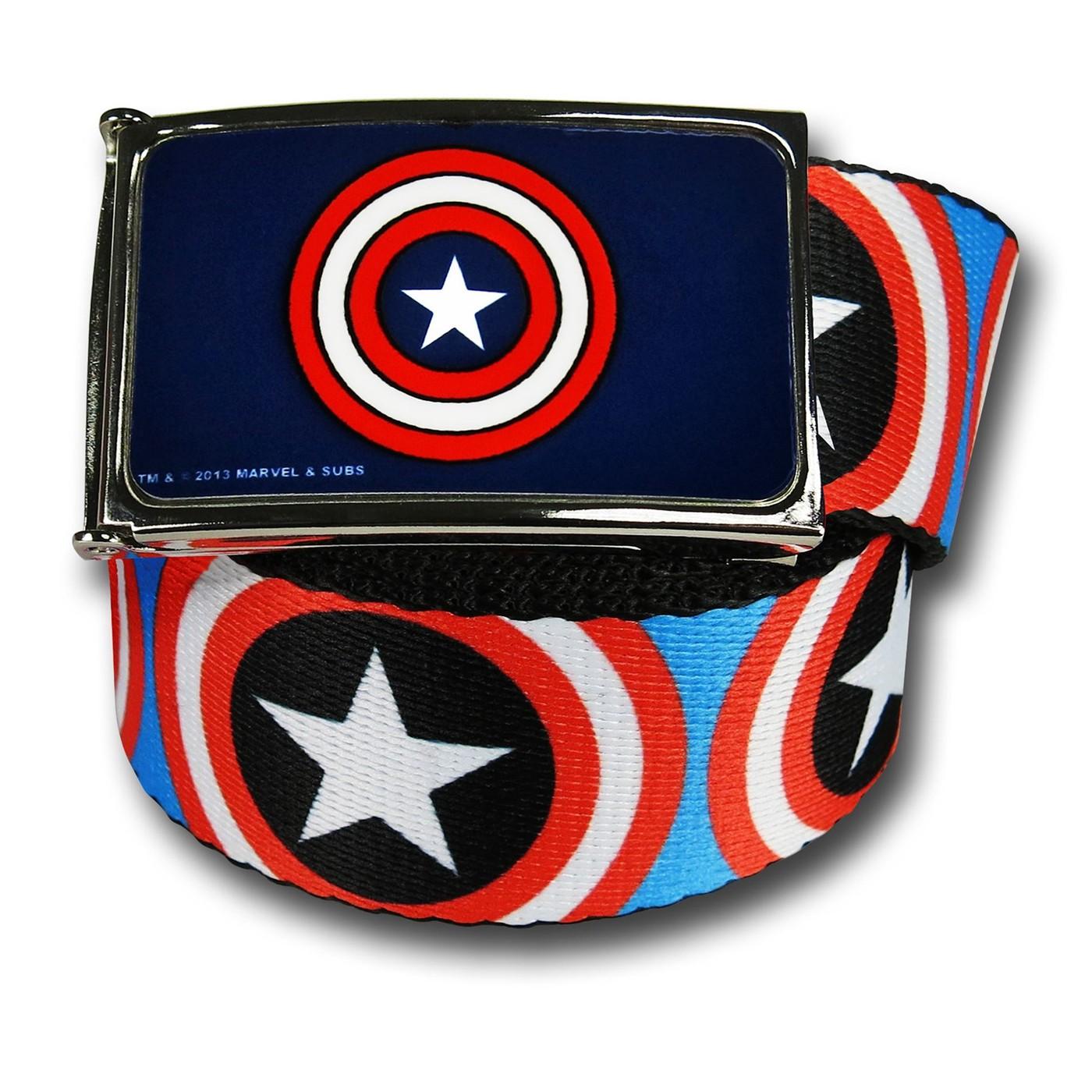 Captain America Shields on Blue Web Belt