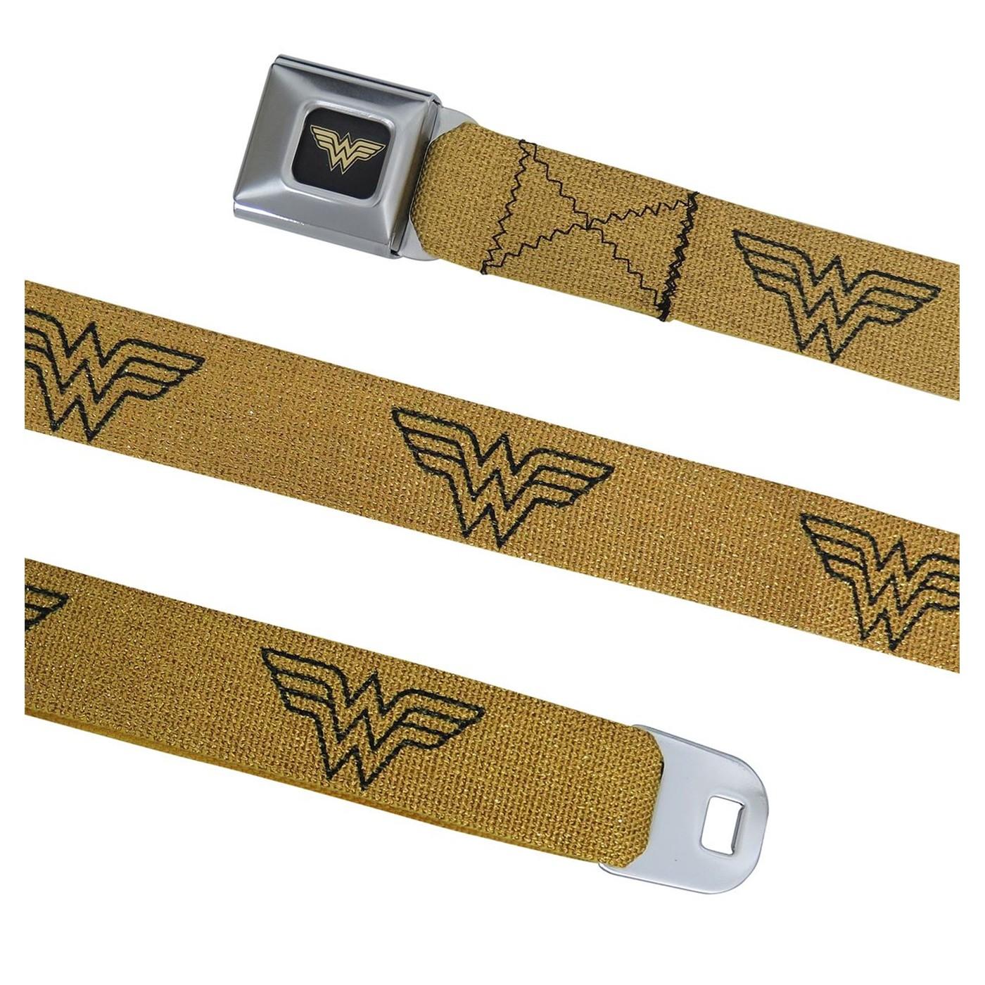 Wonder Woman Symbol Gold Seatbelt Belt