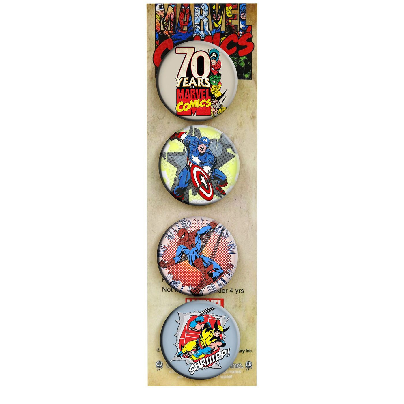 Marvel Retro Buttons 4-Pack