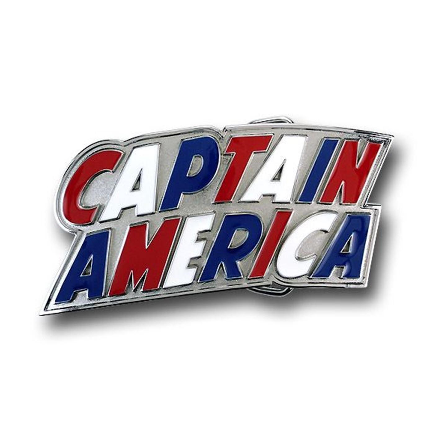 Captain America Red White & Blue Logo Belt Buckle