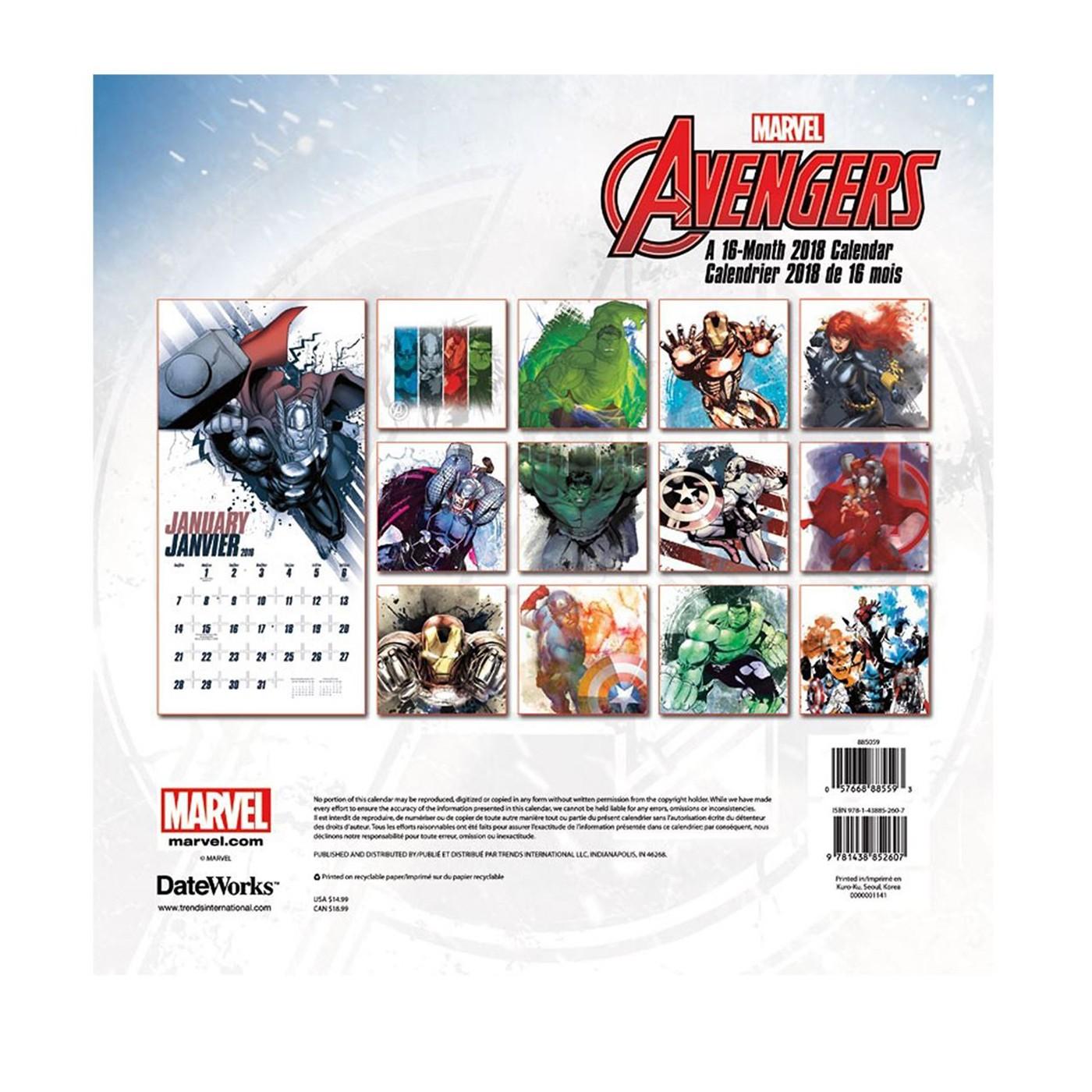 Avengers 16-Month 2018 Calendar