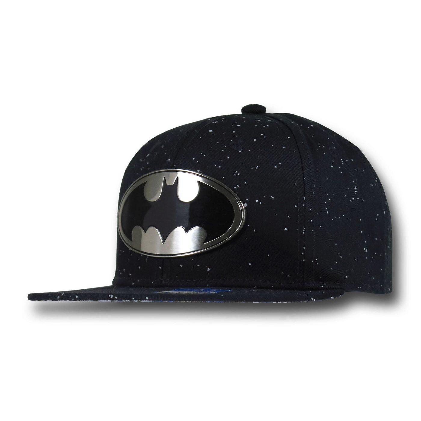 8feec57be Batman Metal Symbol Speckled Flat Billed Hat