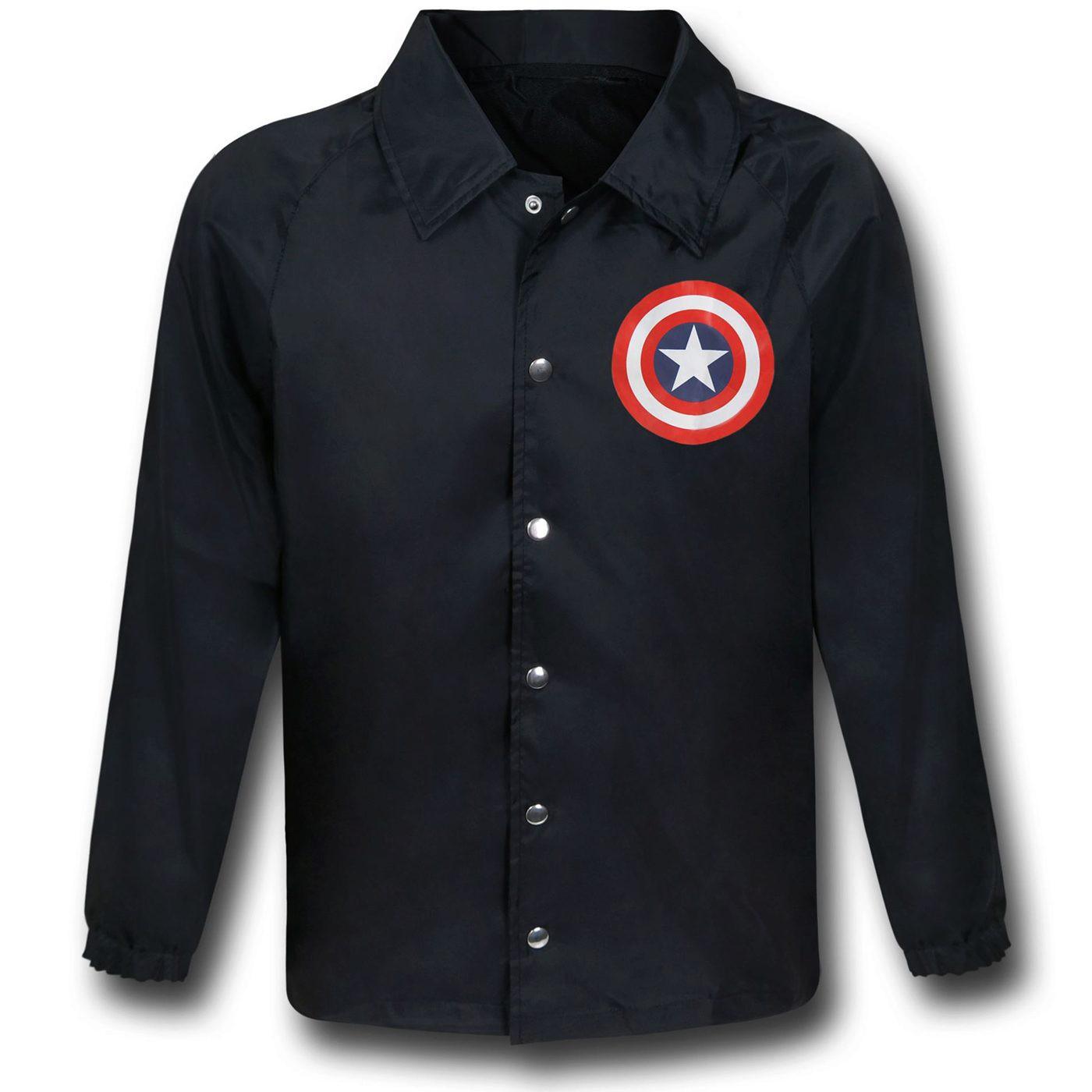 Captain America Shield Black Windbreaker