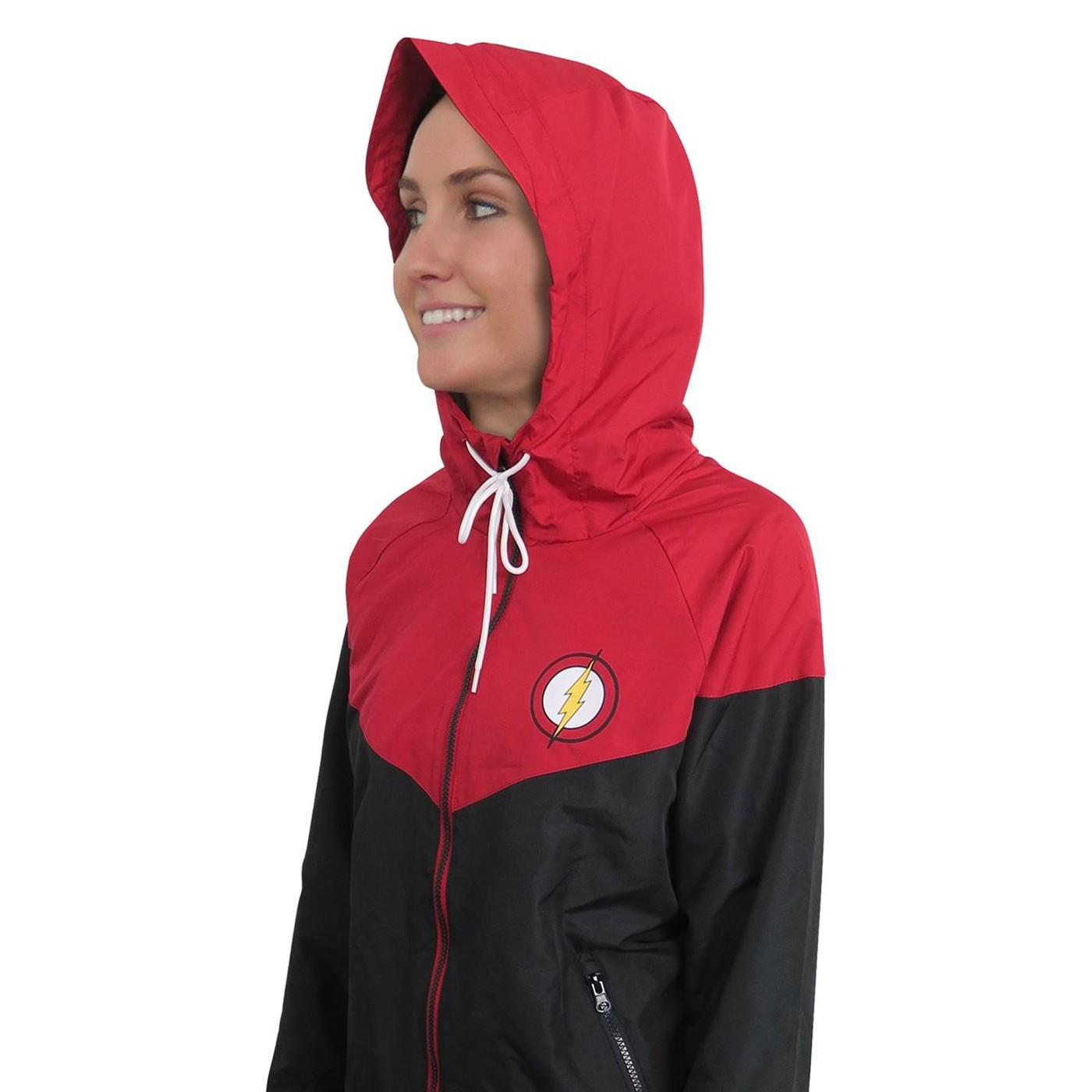 Flash Red & Black Women's Hooded Windbreaker