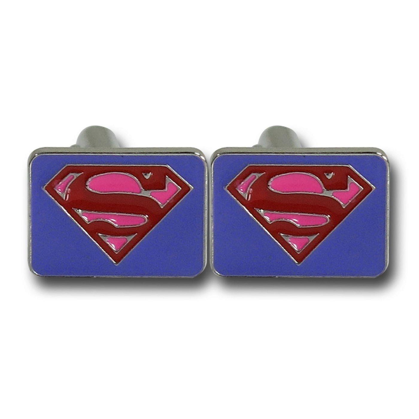Superman Red & Purple Symbol Square Cufflinks
