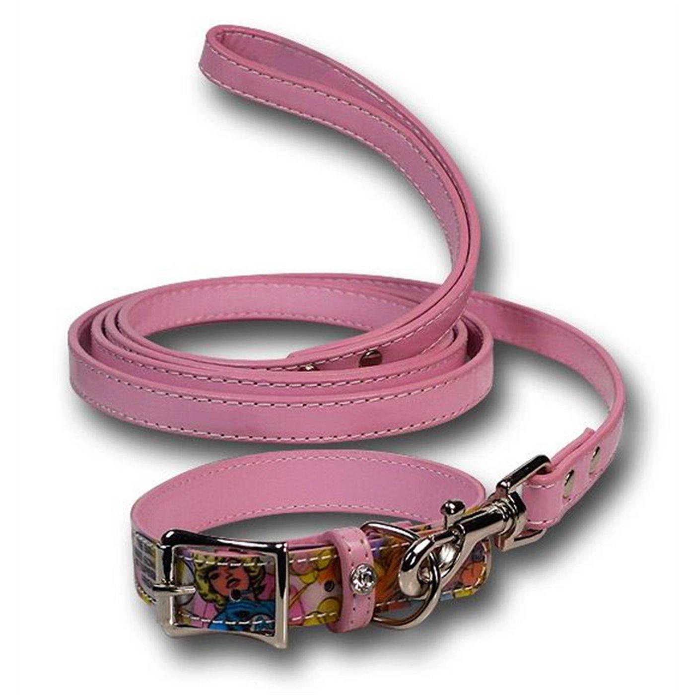 Marvel Heroines Pink Dog Collar/Leash