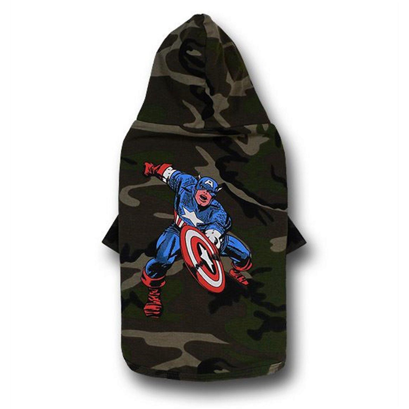 Captain America Camo Dog Hoodie