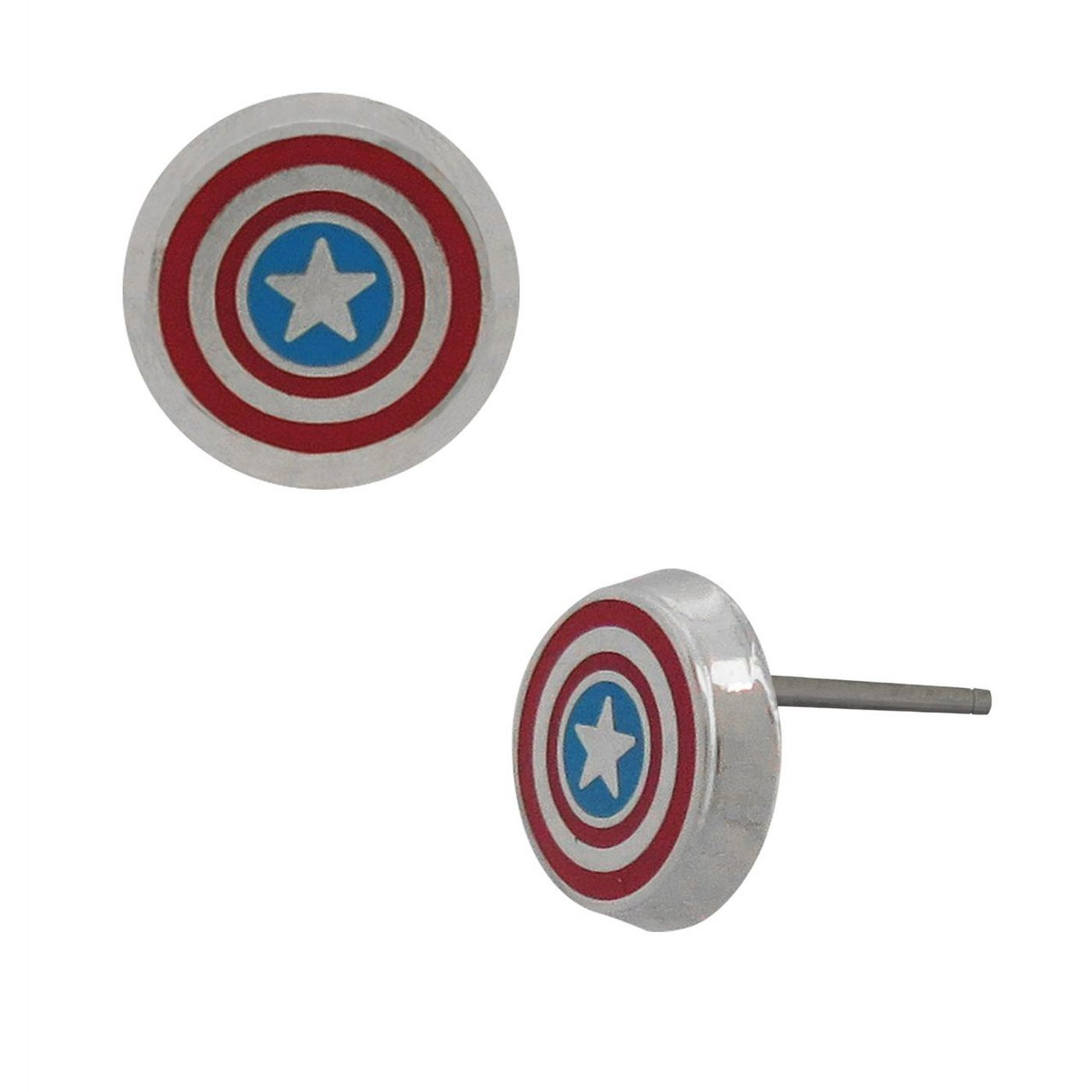 Captain America Shield Stainless Steel Stud Earrings