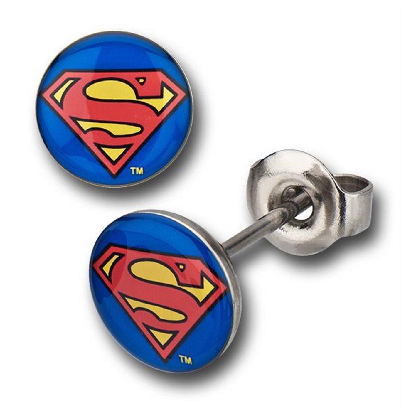 Superman Symbol 316L Surgical Steel Stud Earrings