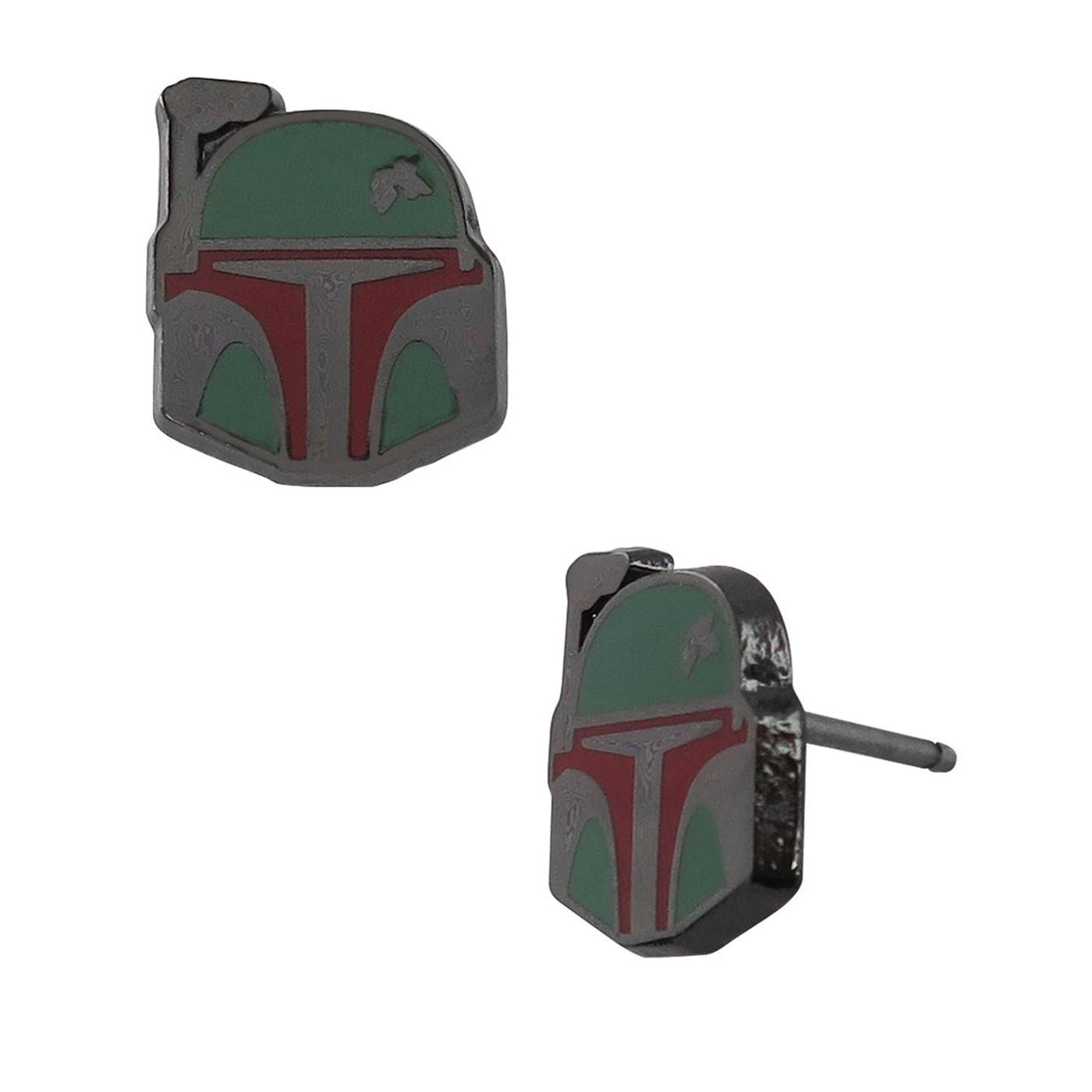 Star Wars Boba Fett Helmet Stud Earrings