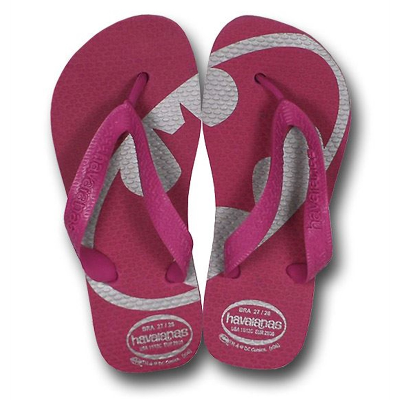 Batgirl Youth Havaianas Pink and Silver Flip Flops