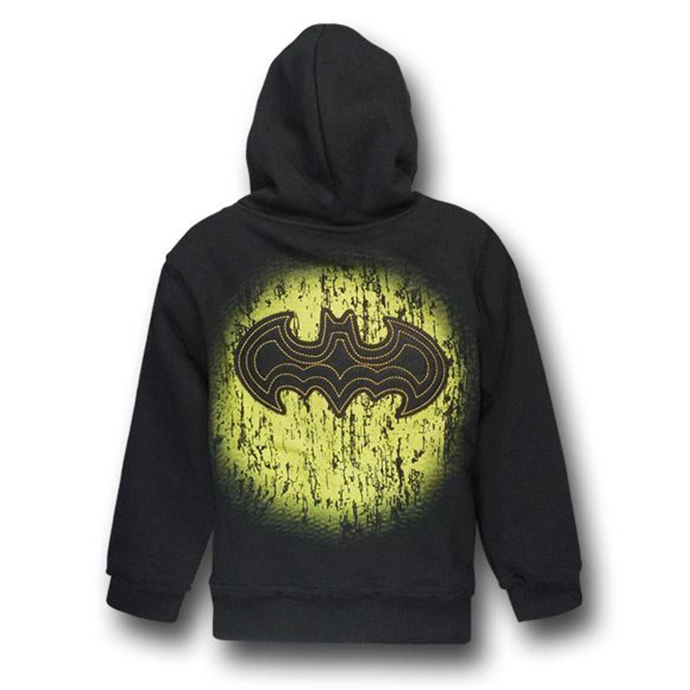 Batman Felt Symbol Kids Zip-Up Hoodie