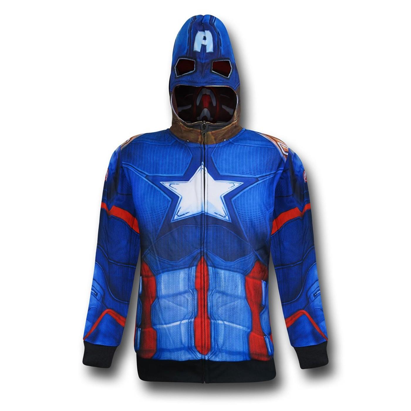 Iron Man/Cap Reversible Men's Costume Zip Hoodie