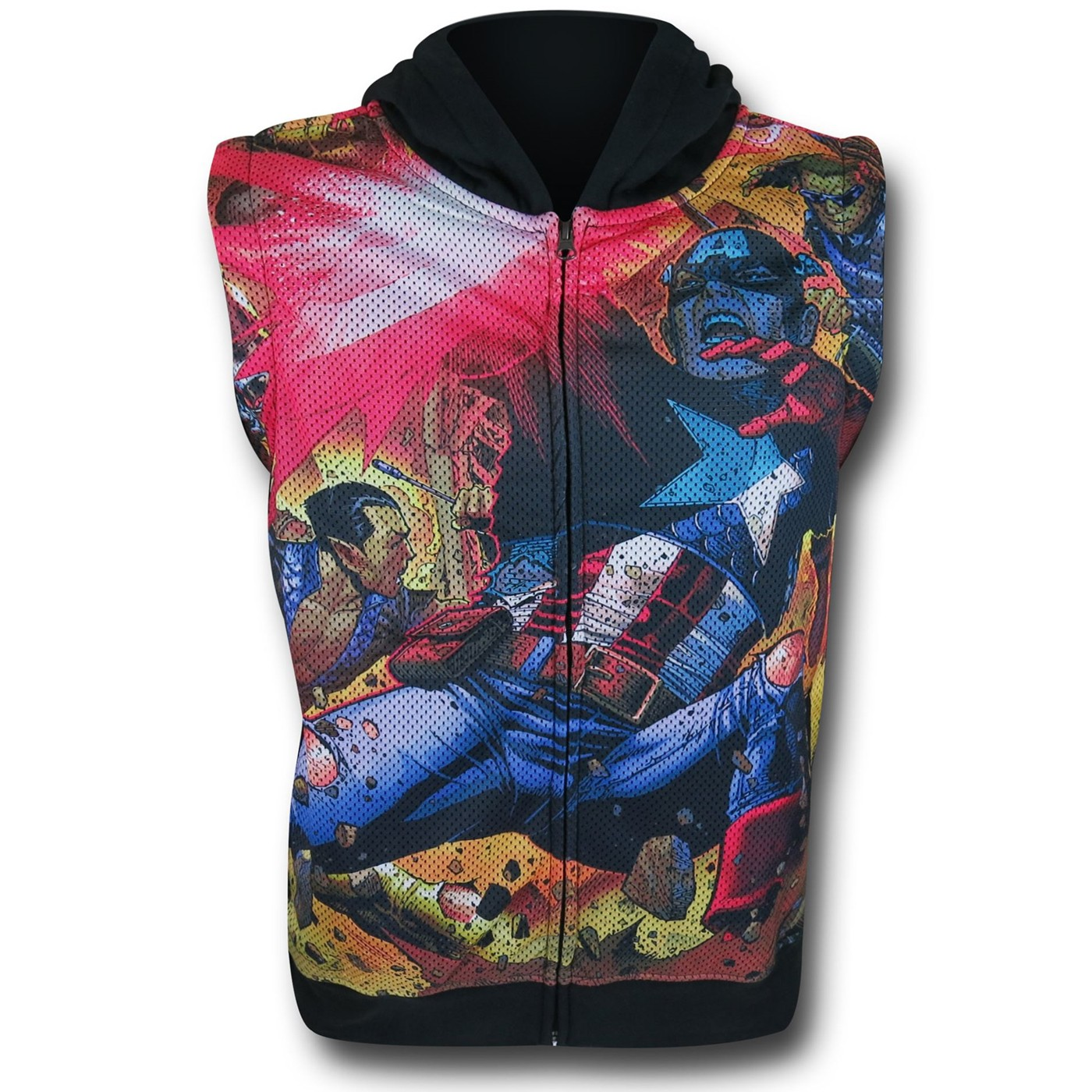 Captain America Zip Hooded Youth Vest w/ Sleeves