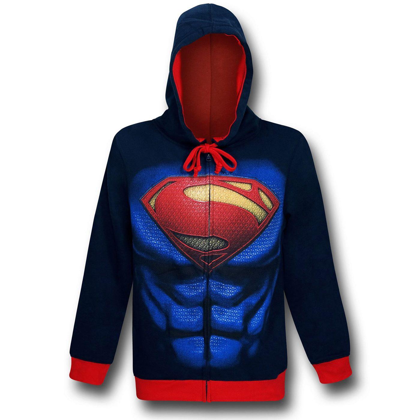 Superman Man of Steel Armor Costume Hoodie