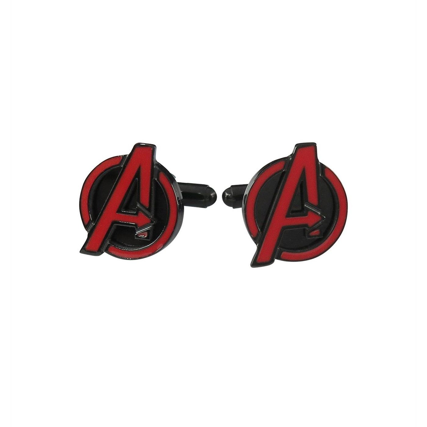 Avengers Red Black Stainless Steel Plated Cufflinks