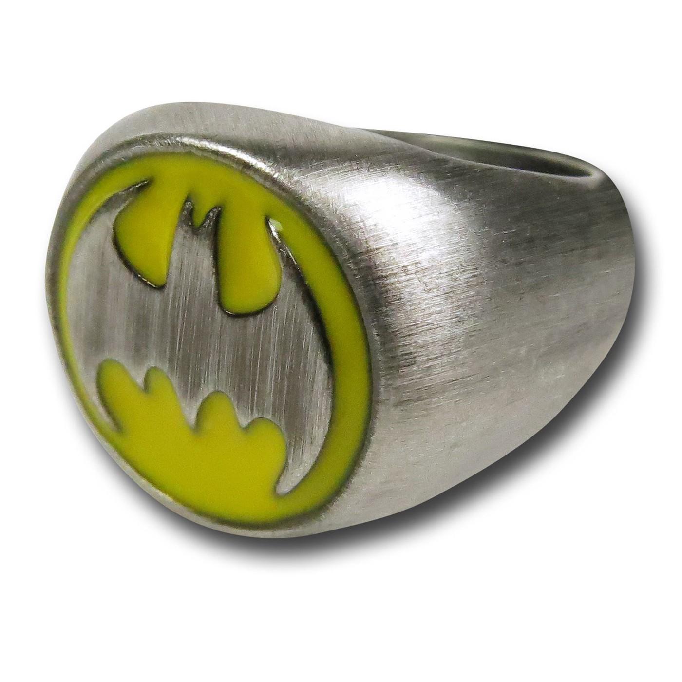 Batman Symbol Brushed Nickel Ring
