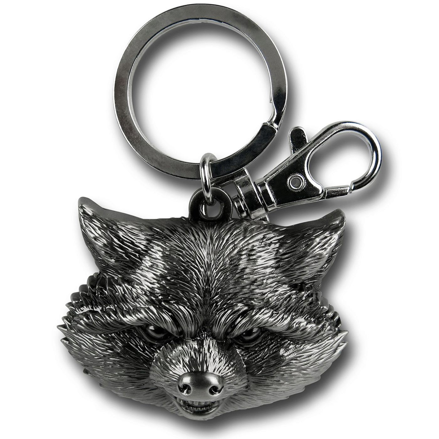 Rocket Raccoon Head Pewter Keychain