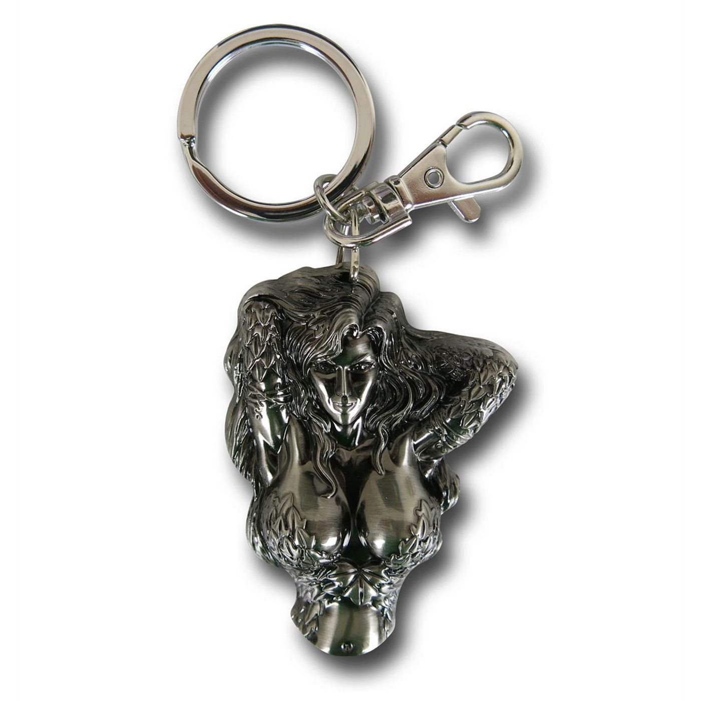 Poison Ivy Bust Pewter Keychain