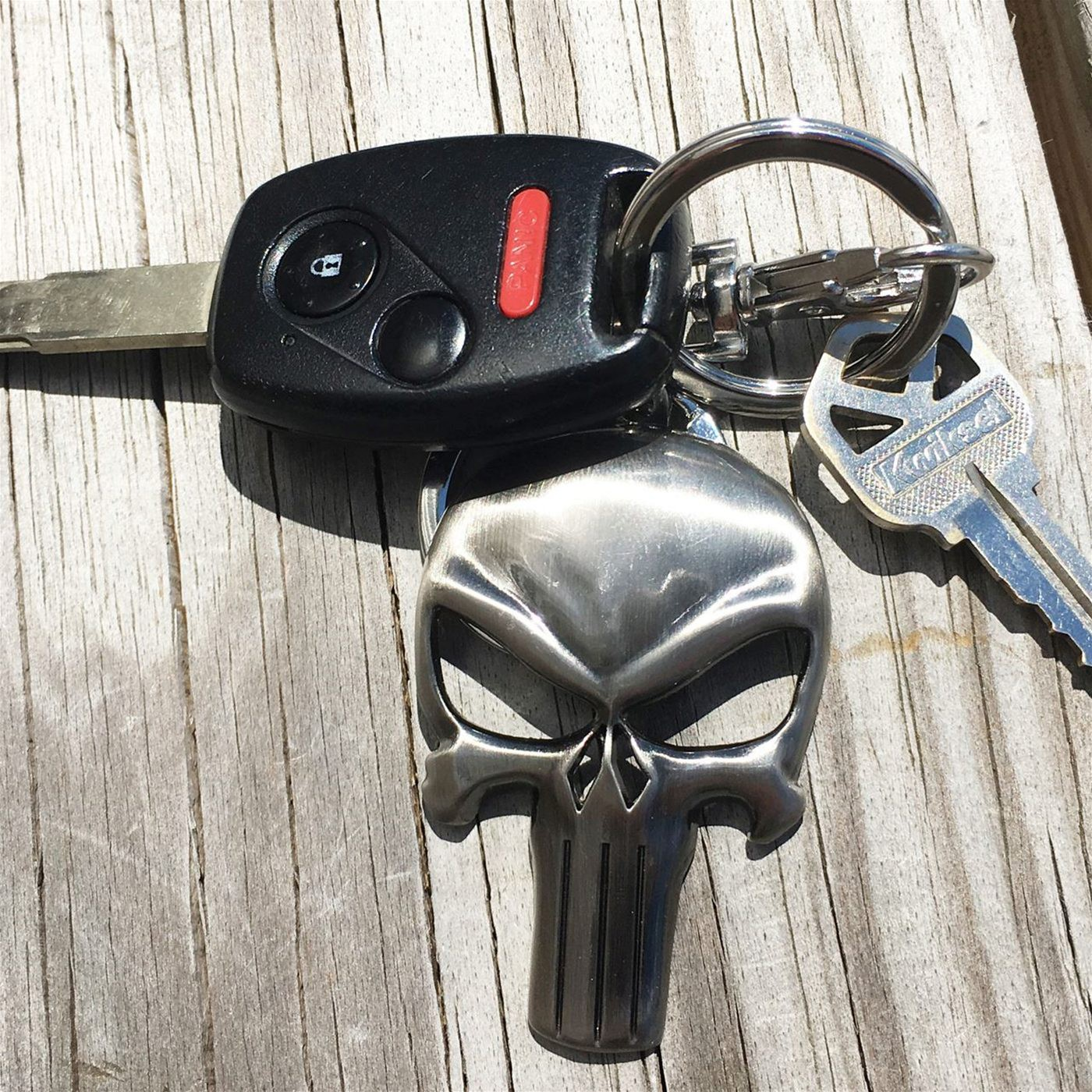 Punisher Symbol Shiny Pewter Keychain