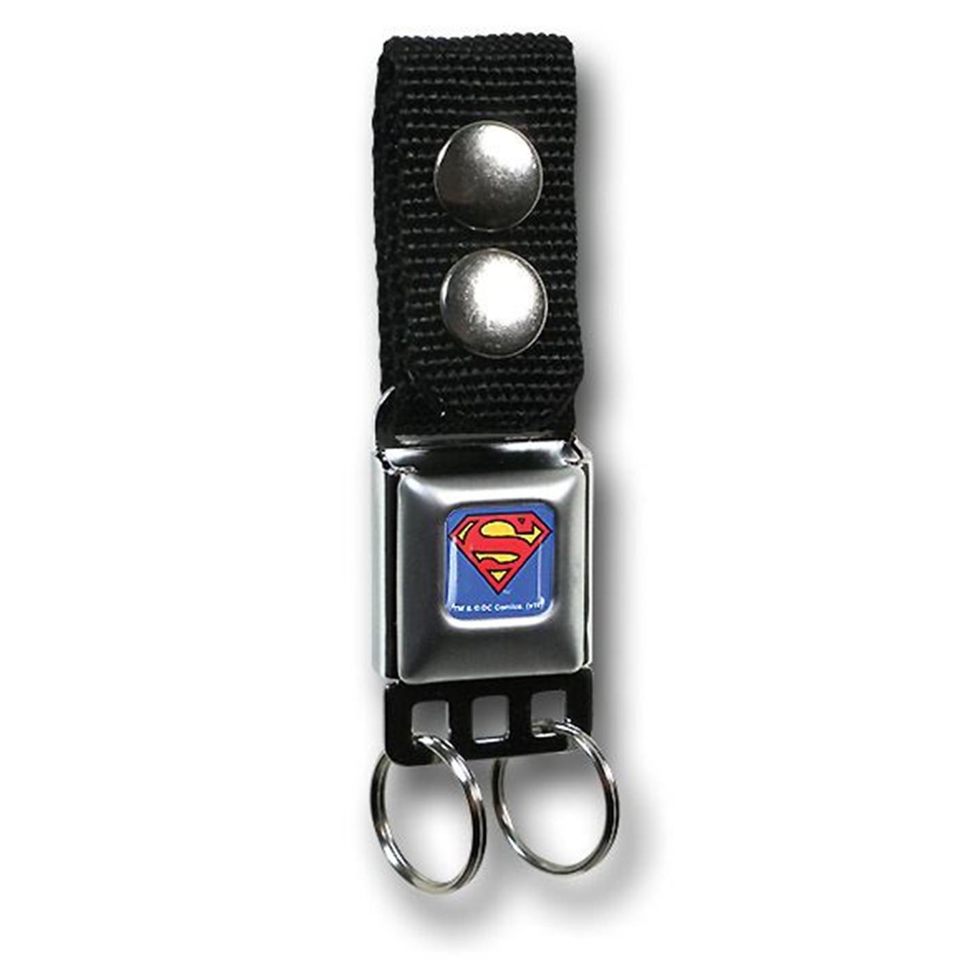 Superman Seatbelt Keychain w/Snap-On Belt Loop