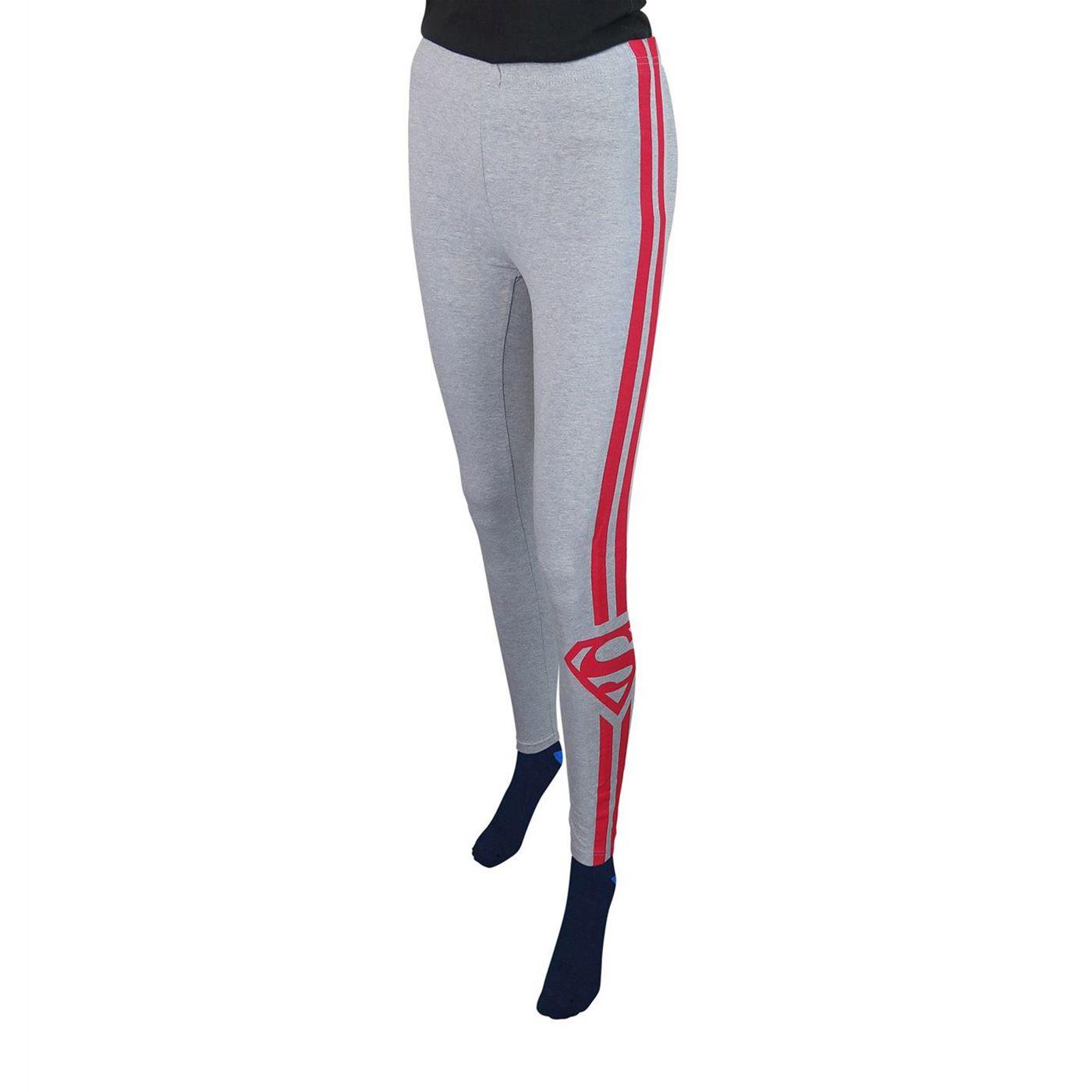 Superman Symbol Racer Stripes Women's Leggings