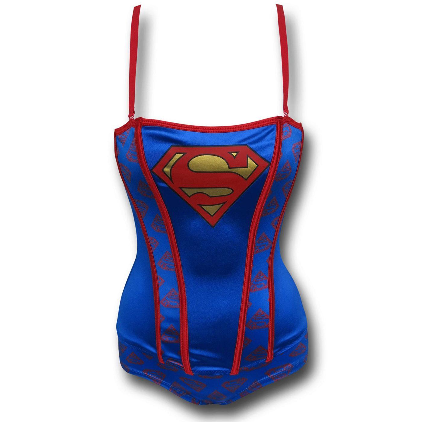 Supergirl Stretch Satin Women's Corset & Panty Set
