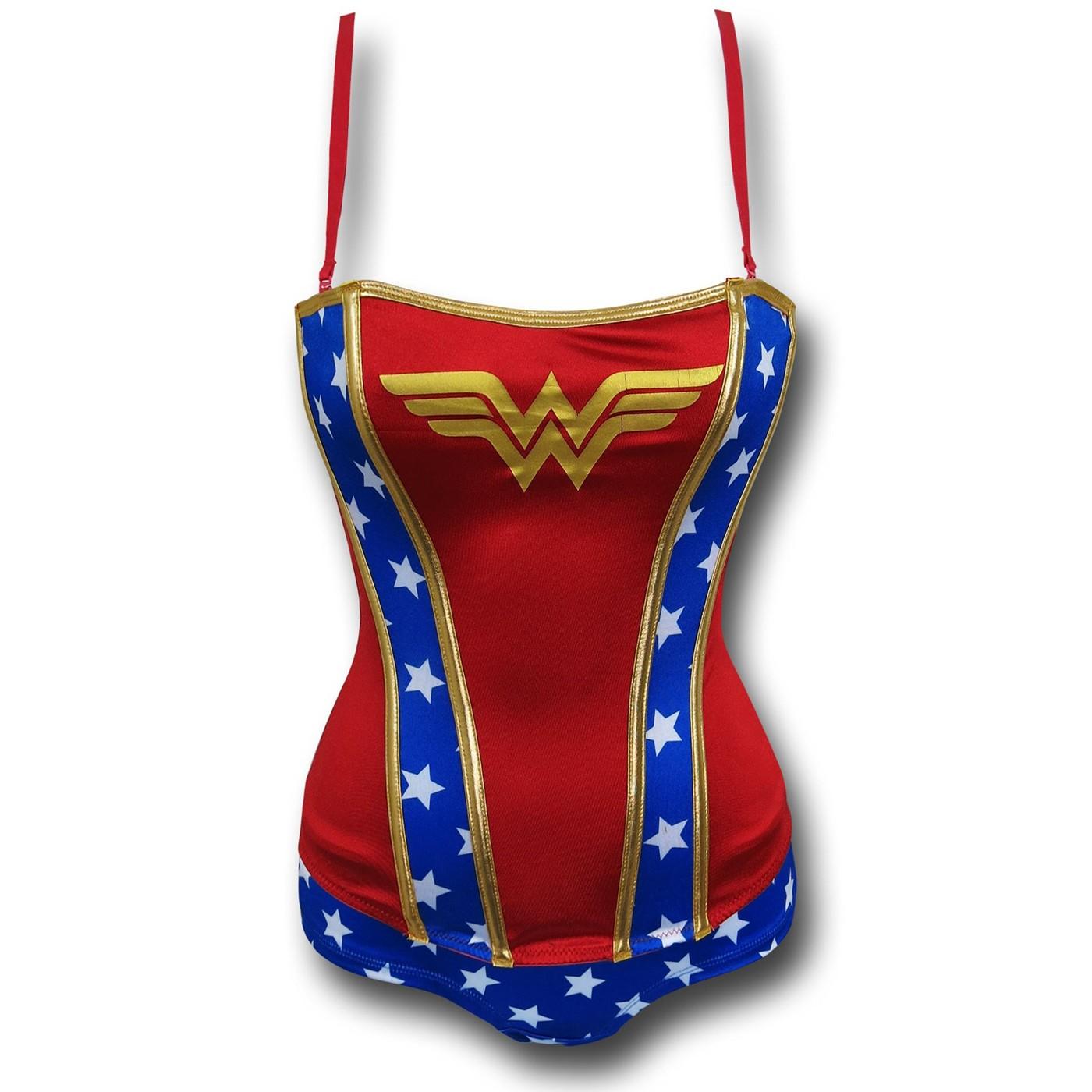 Wonder Woman Stretch Satin Women's Corset & Panty Set