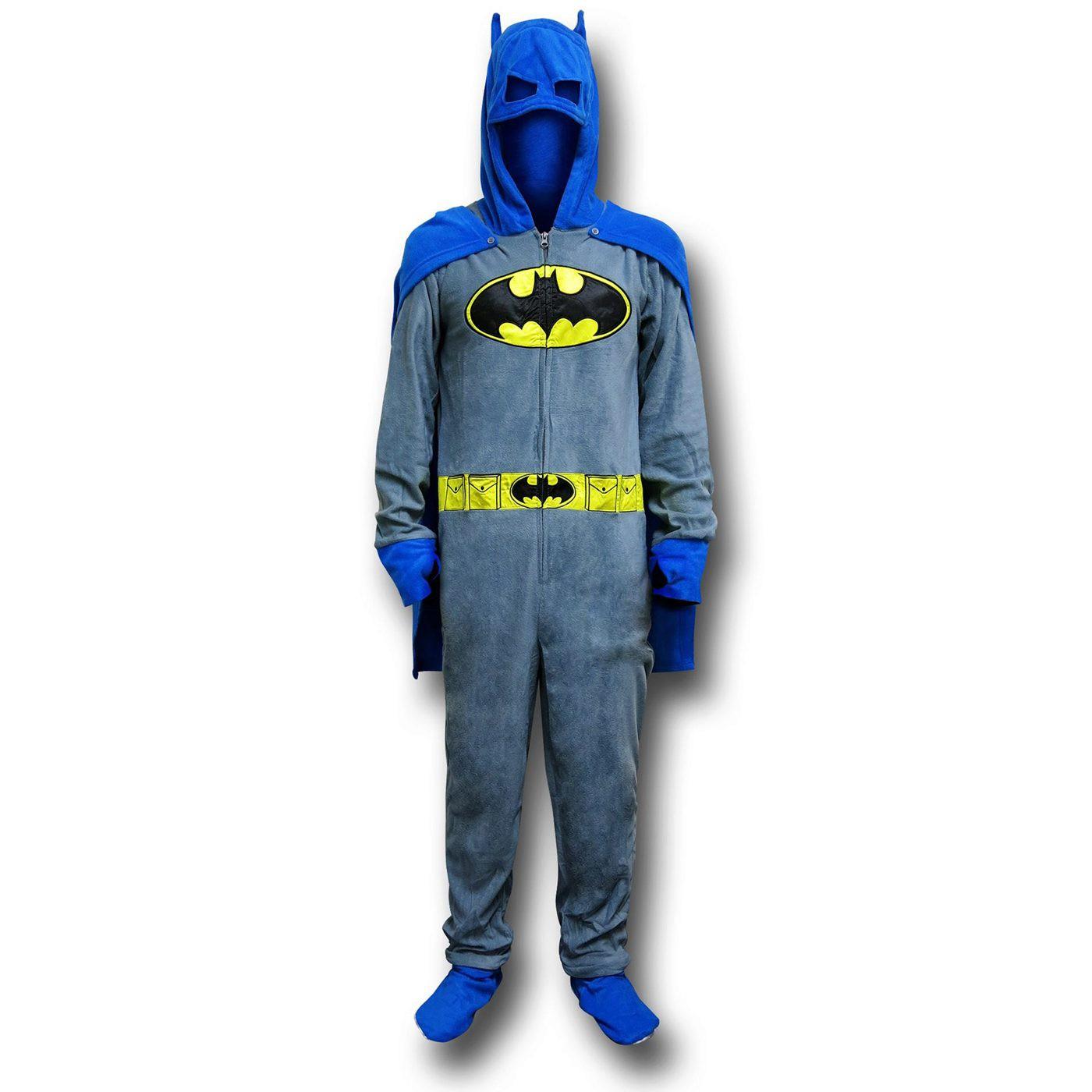 Batman Grey Union Suit Pajamas w/Cape and Cowl