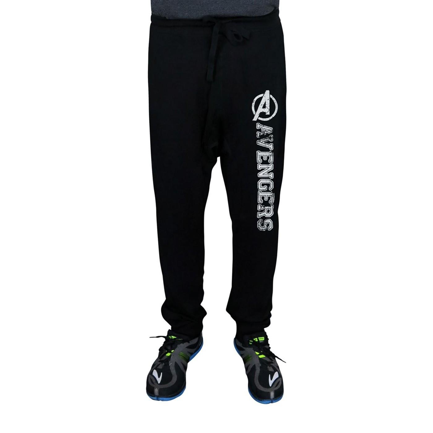 Avengers Distressed Logo Black Jogger Pants