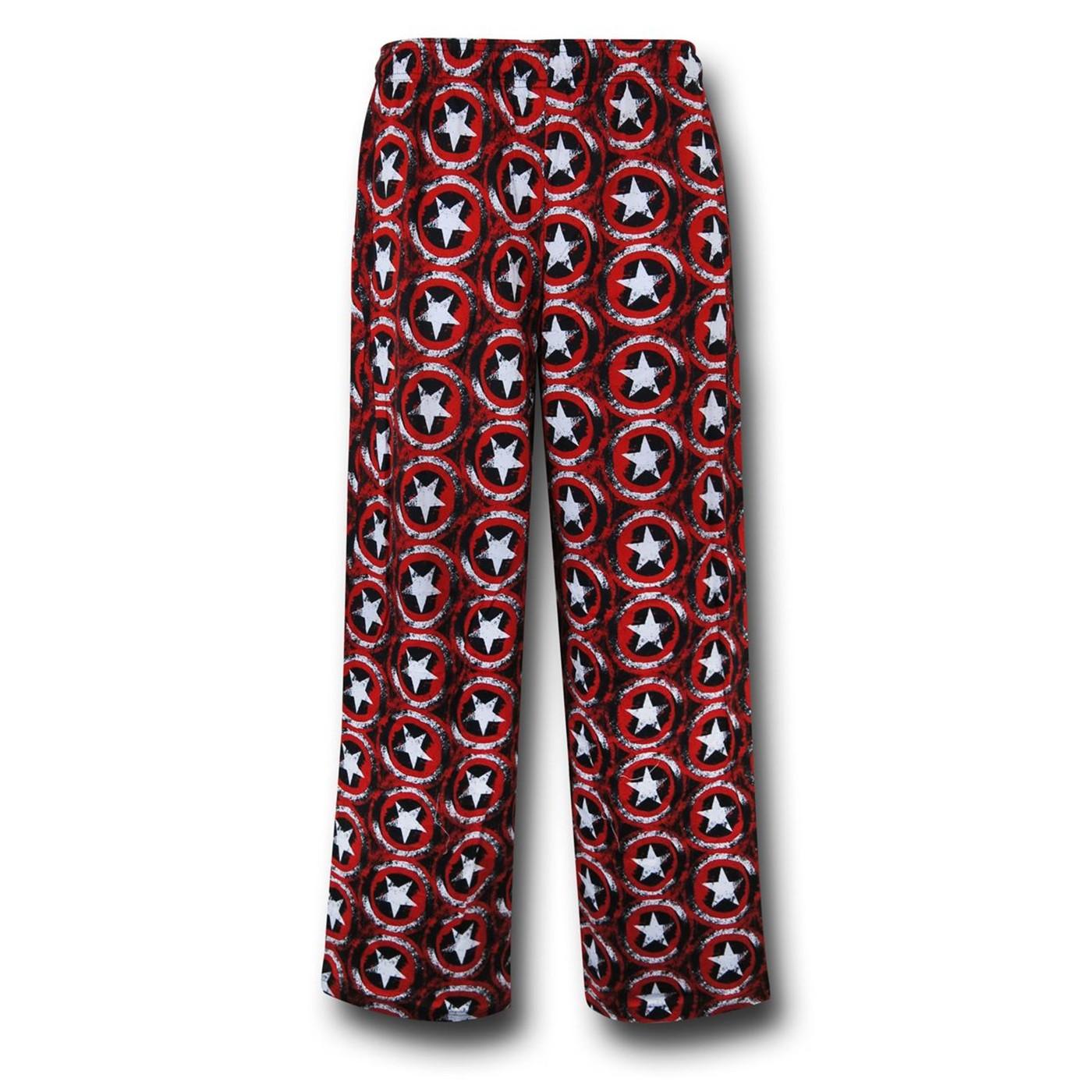 Captain America Shields All-Over Men's Pajama Pants