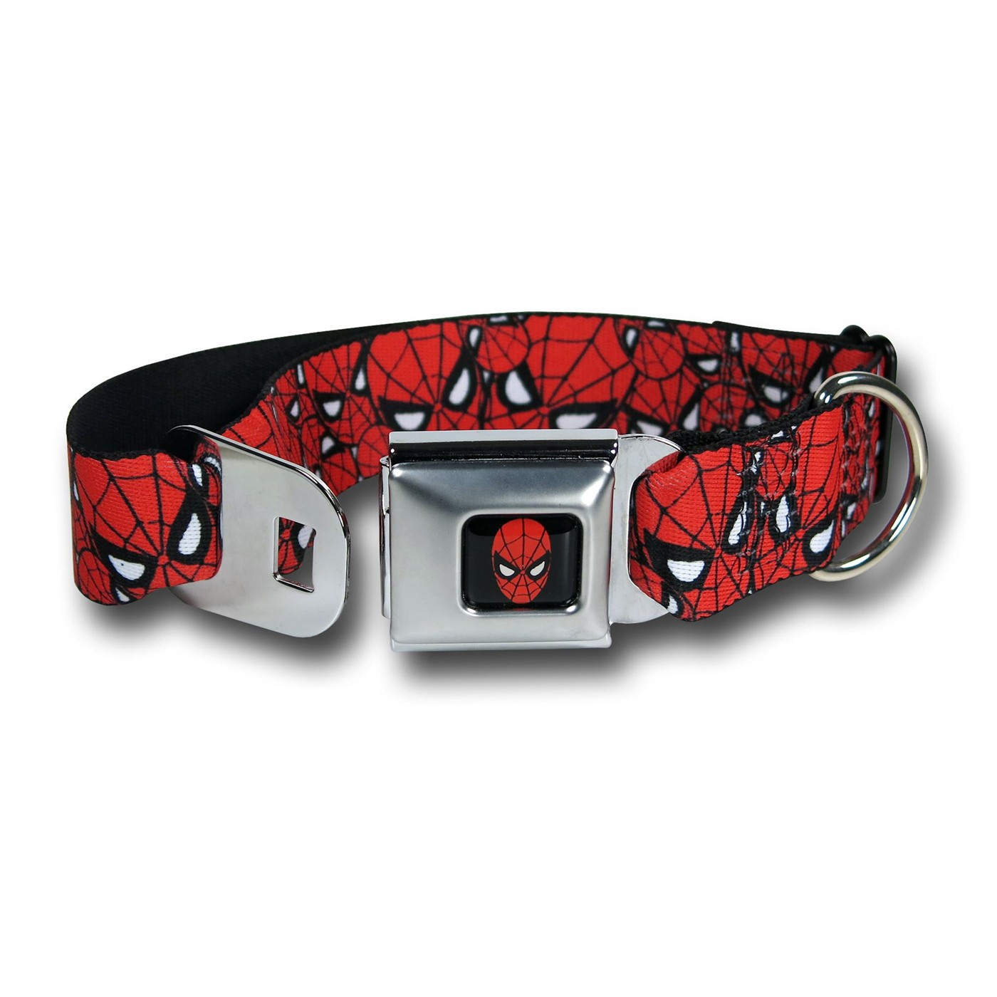 Spiderman Faces Red Seatbelt Dog Collar