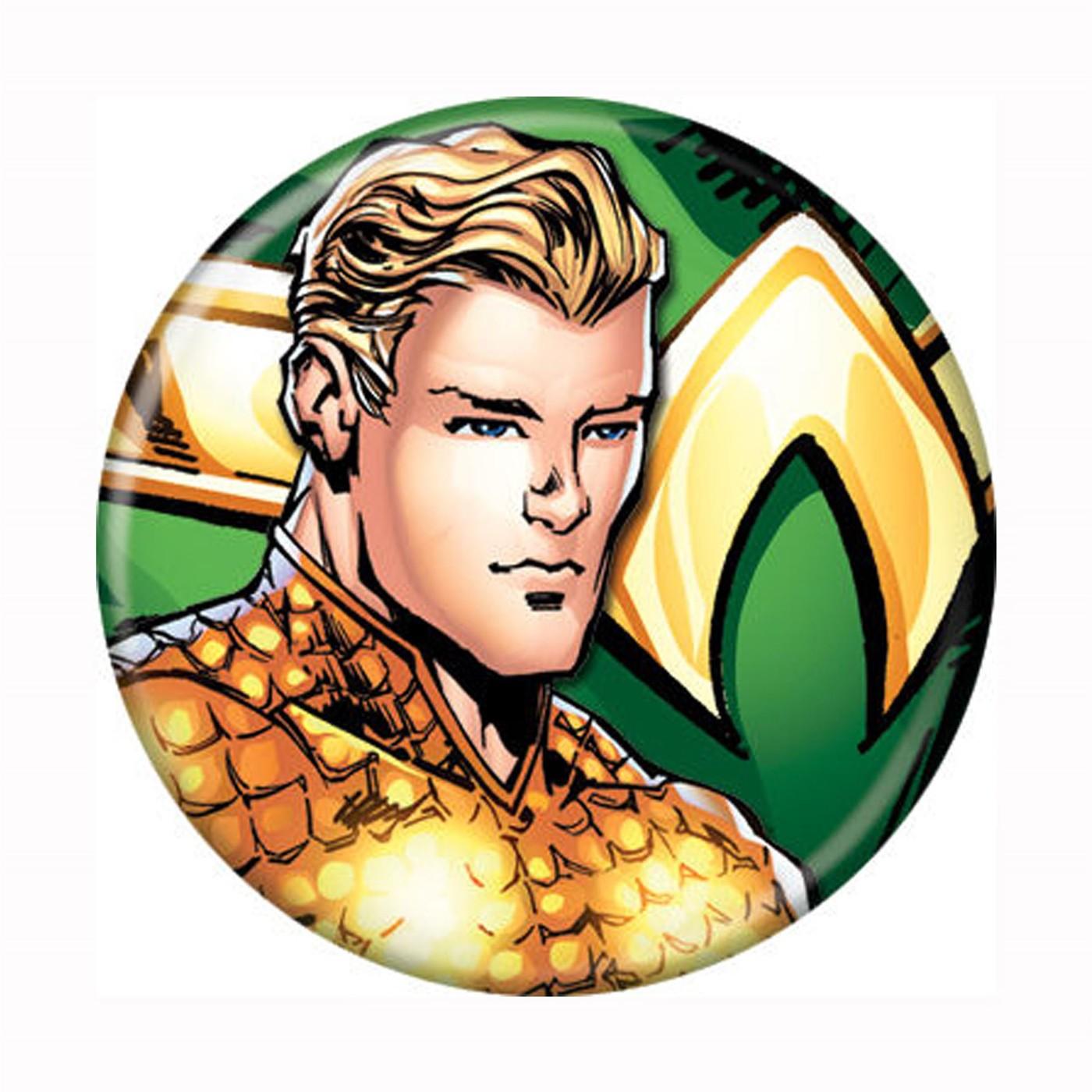 Aquaman Headshot New 52 Button