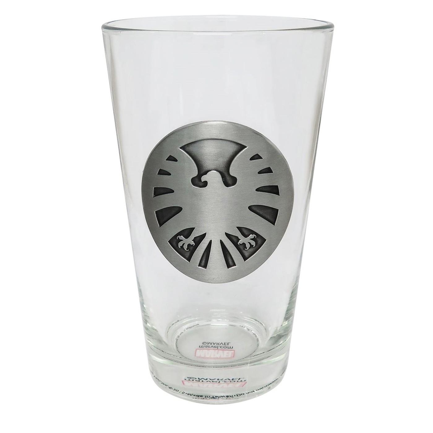 SHIELD Metal Logo Pint Glass