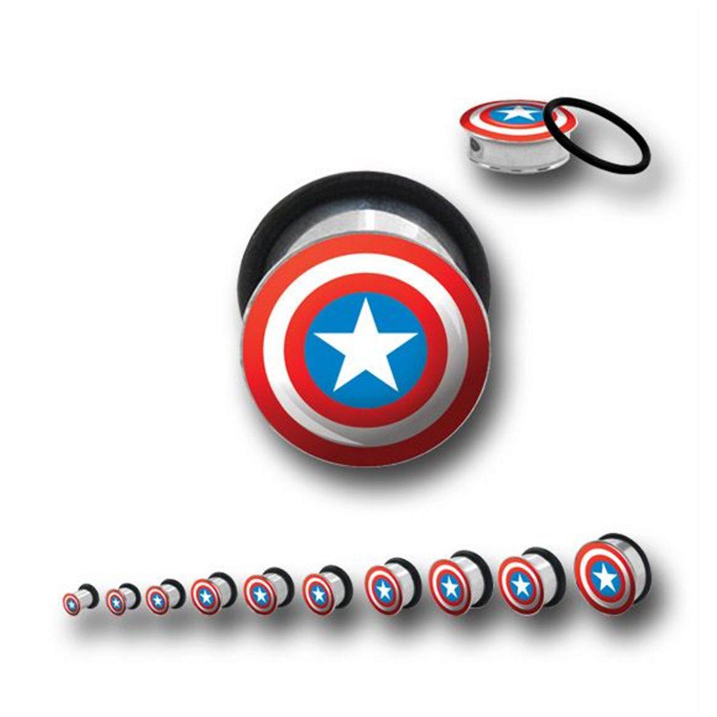 Captain America 316L Surgical Steel Plugs