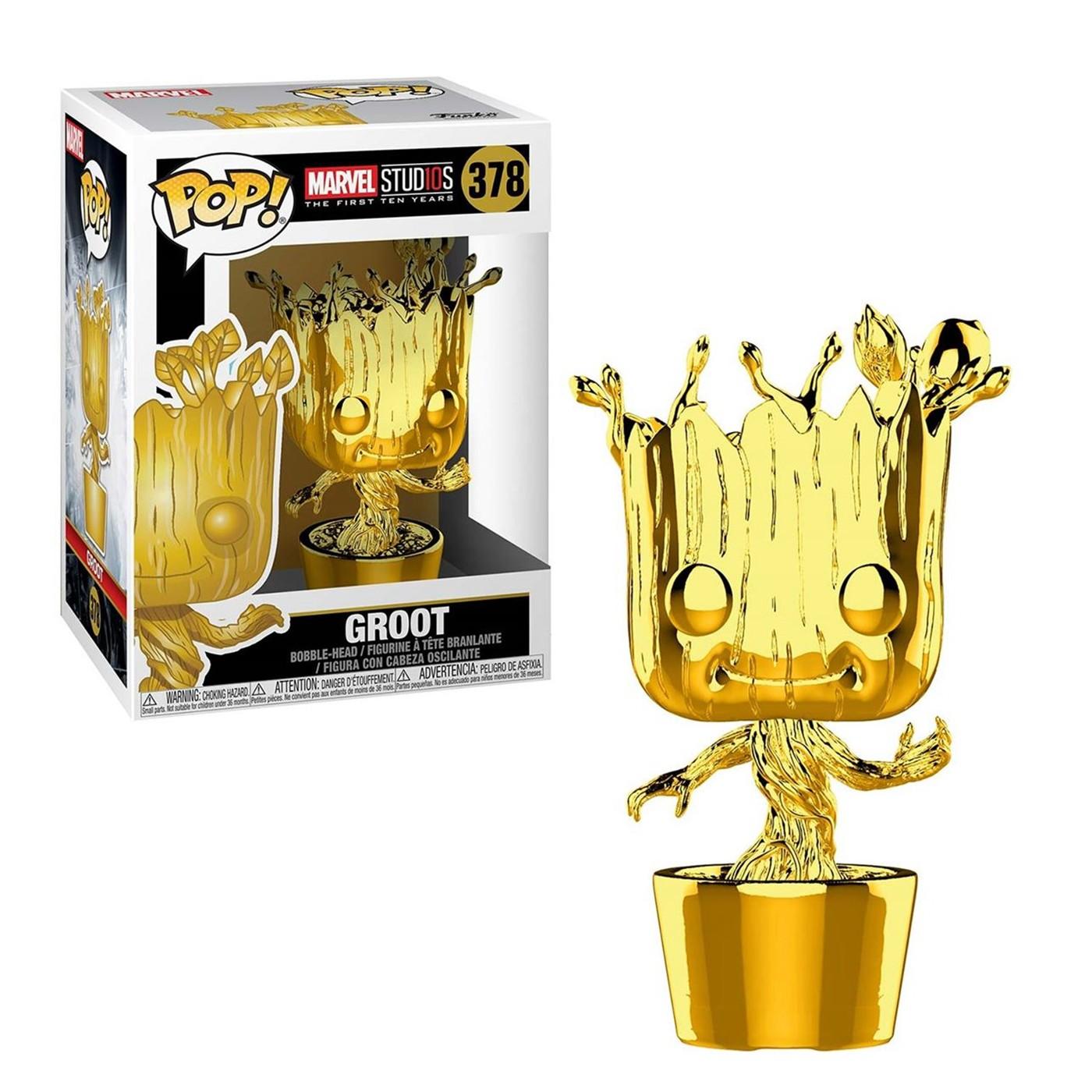 Marvel Studios 10th Anniv Baby Groot Funko Gold Chrome Pop Bobble Head