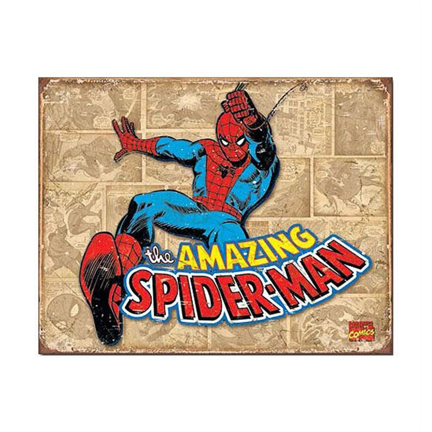 Spider-Man Vintage Sepia Panels Tin Sign