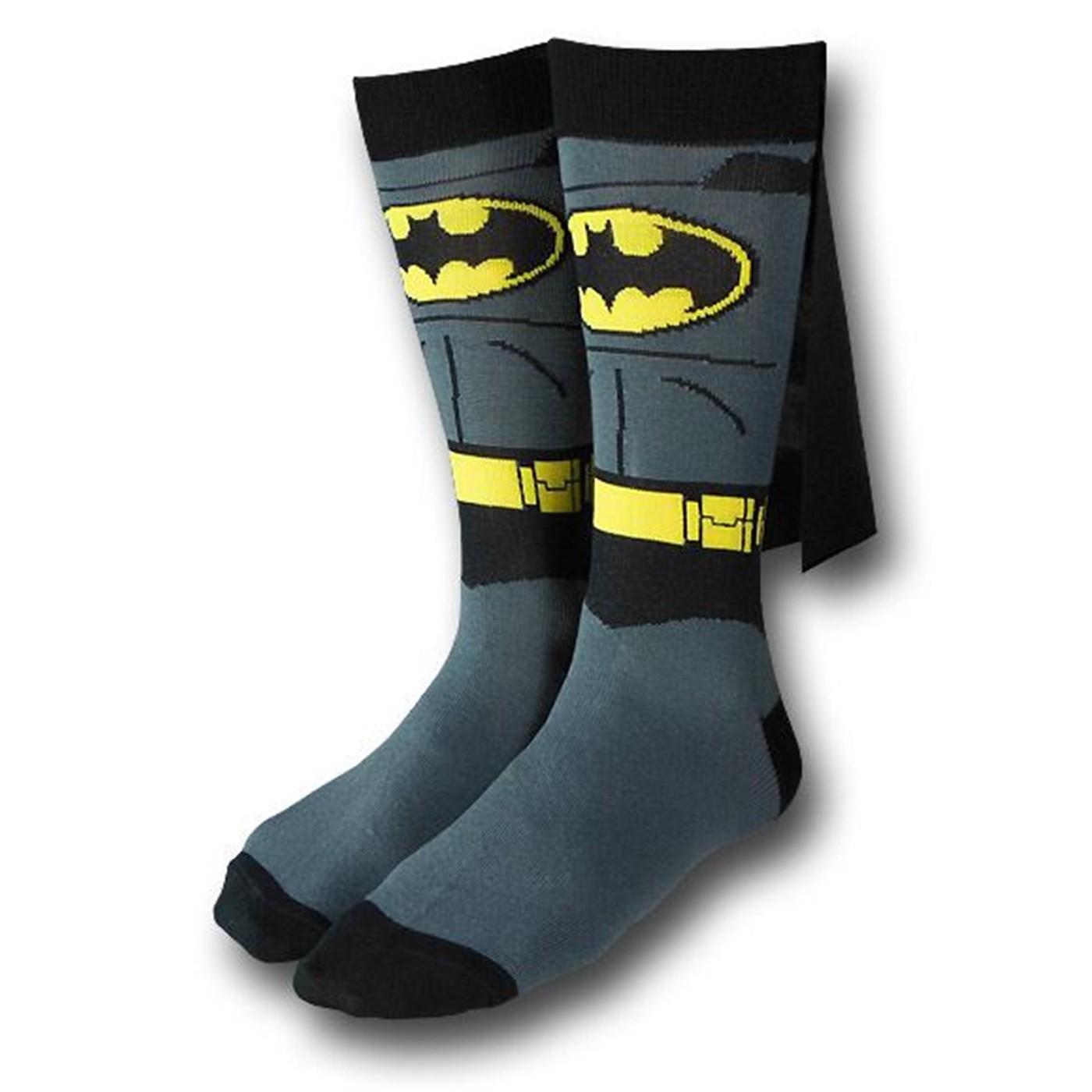 Batman Costume Crew Socks With Capes