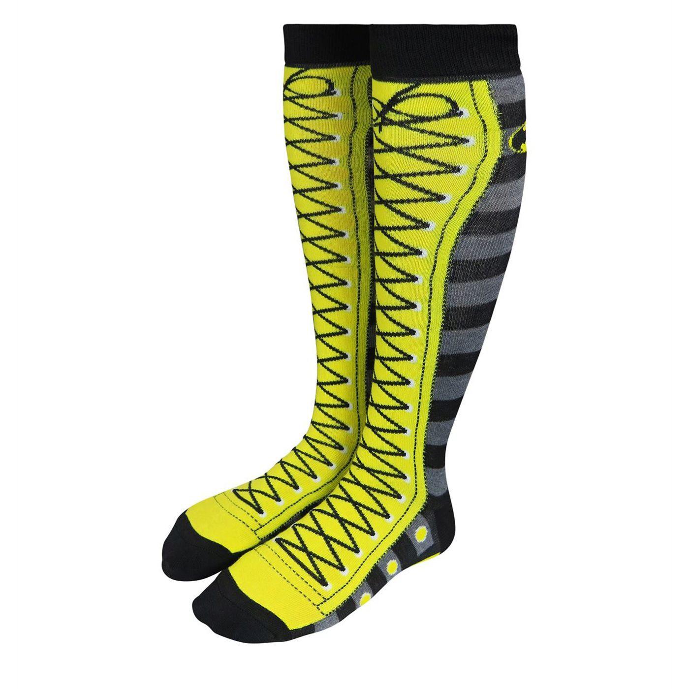 Batman Stripes Faux Lace-Up Women's Knee High Socks