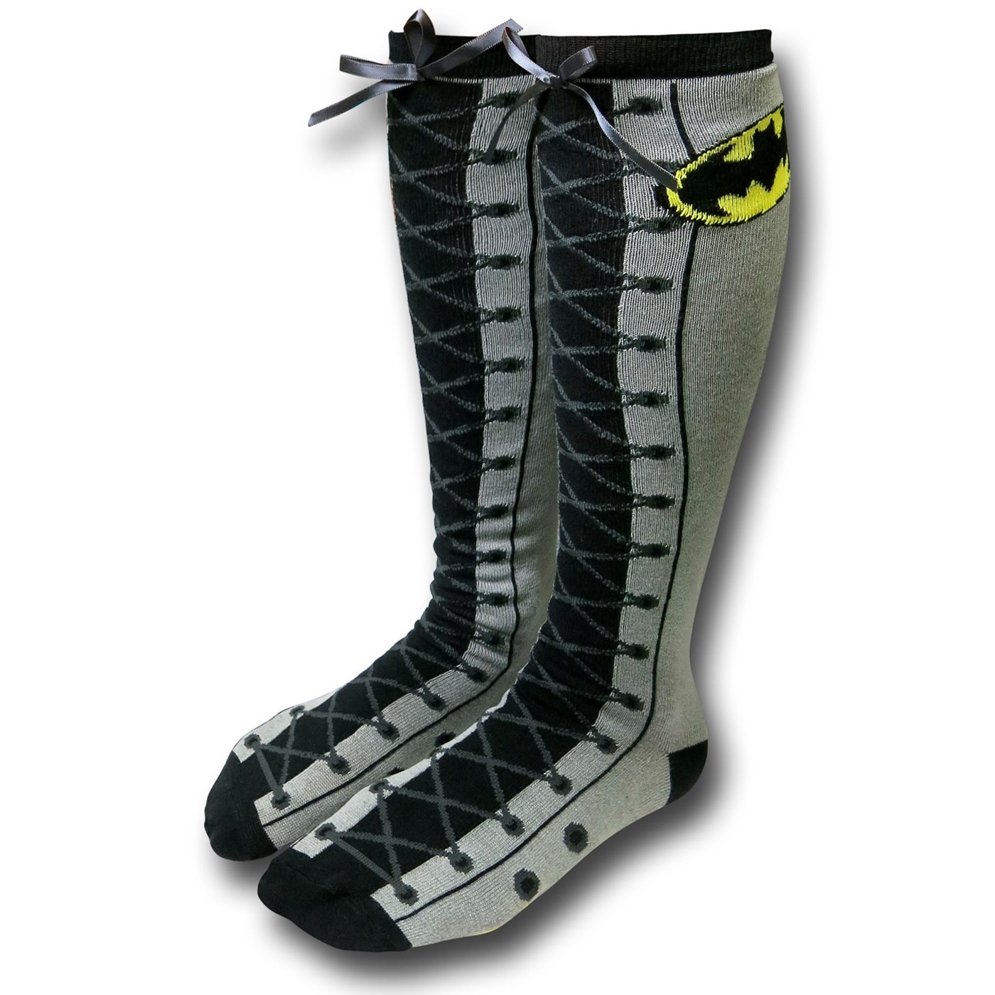 Batman Faux Lace-Up Knee High Socks