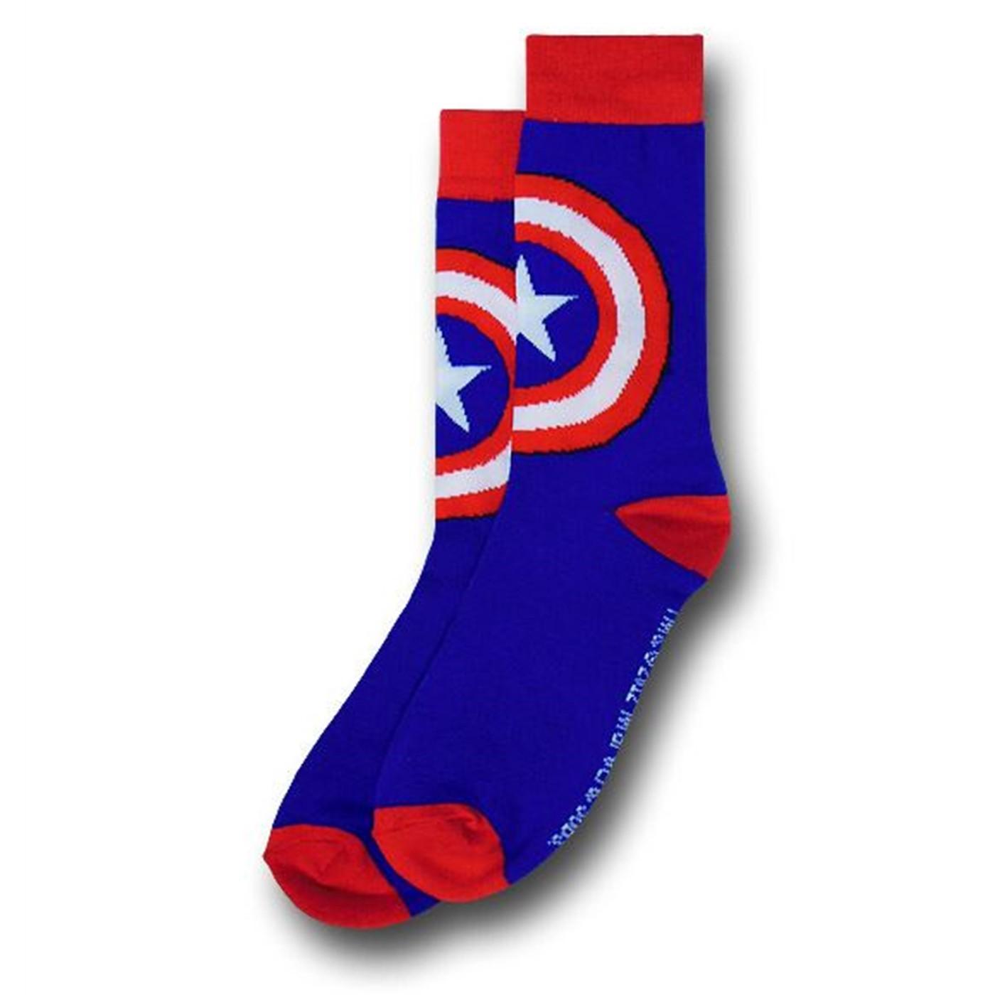Captain America Shield Symbol Crew Socks