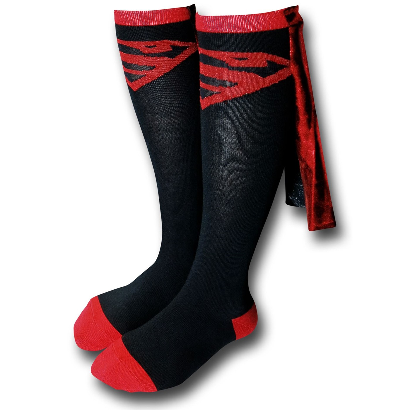 Superboy Knee High Red & Black Shiny Cape Socks