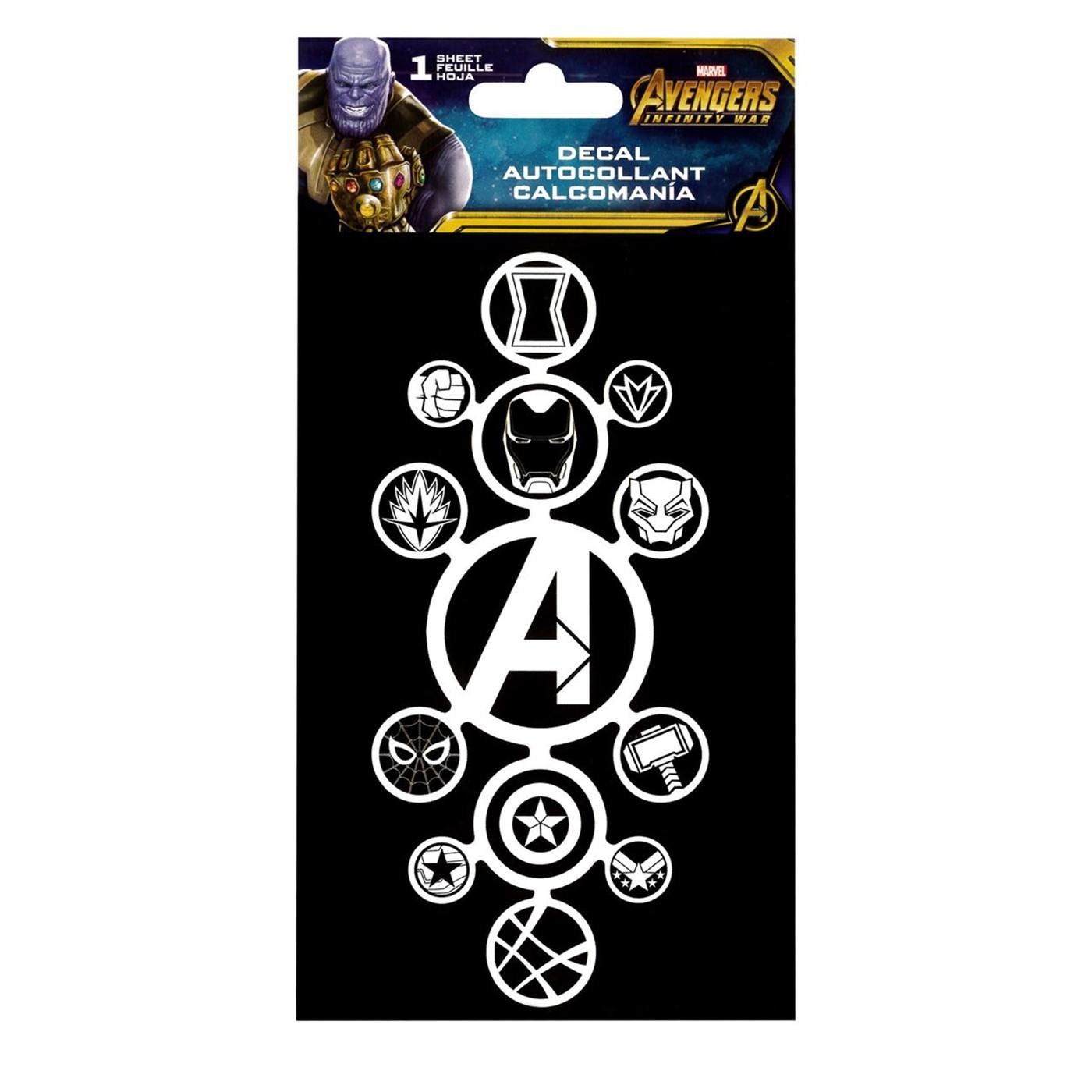 Avengers Infinity War Hero Logos Sticker