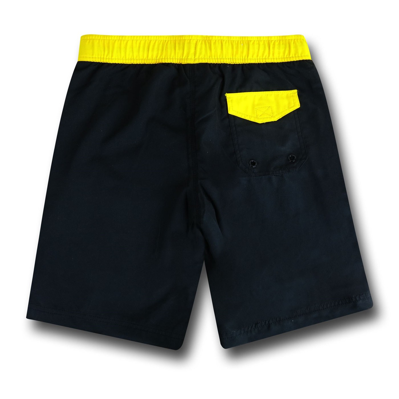 Batman Symbol Black Board Shorts w/ Rear Pocket