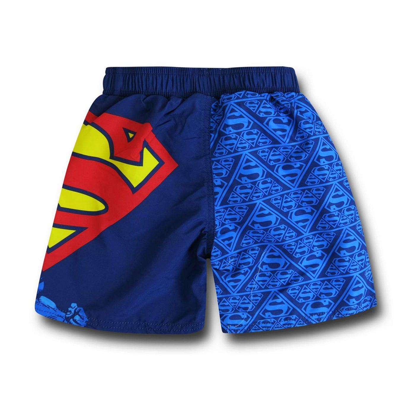 Superman Flight Kids Swim Trunks