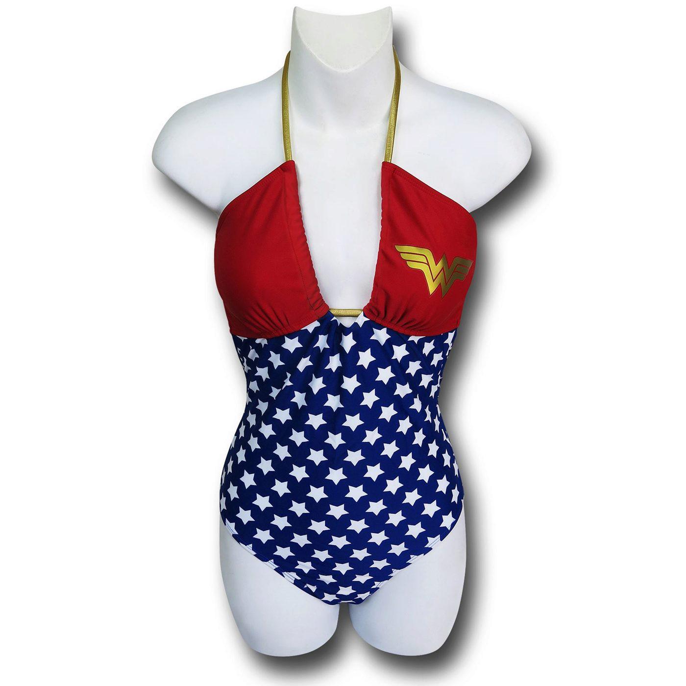 Wonder Woman Bandeau One-Piece Swimsuit