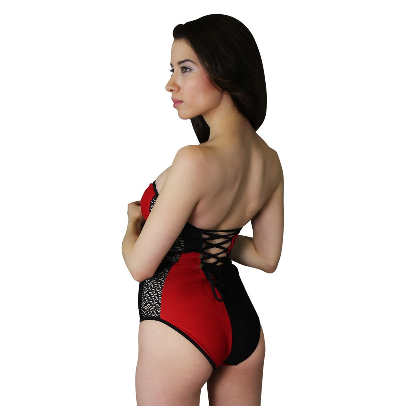 Harley Quinn Lace- Up One- Piece Swimsuit