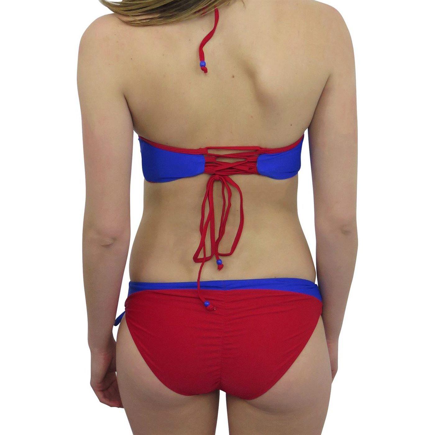Supergirl Lace-Up Bustier Bikini