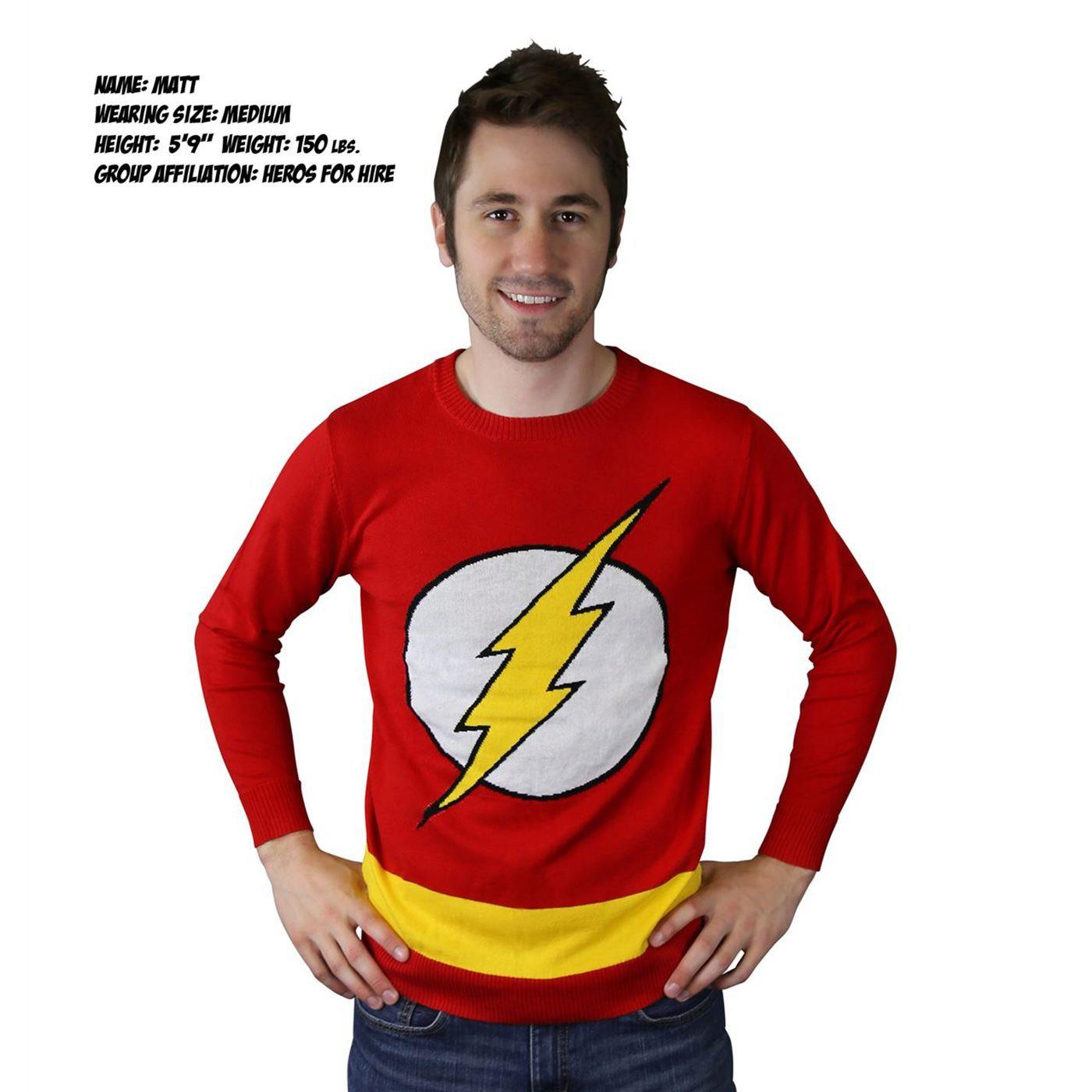 Flash Symbol Red Sweater w/Yellow Stripe