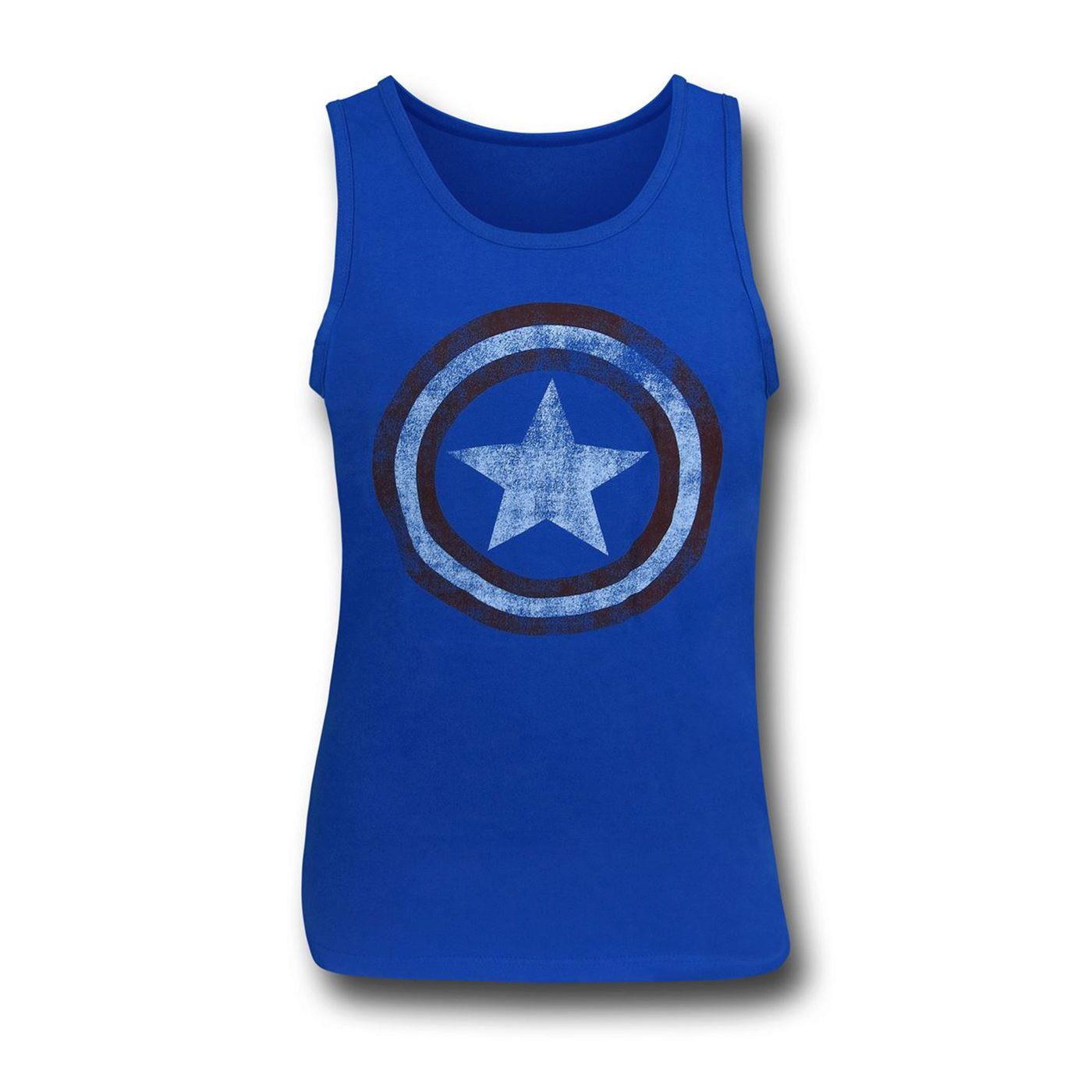 Captain America Distressed Shield Royal Blue Tank Top